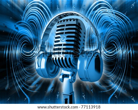 Microphone on blue musical background