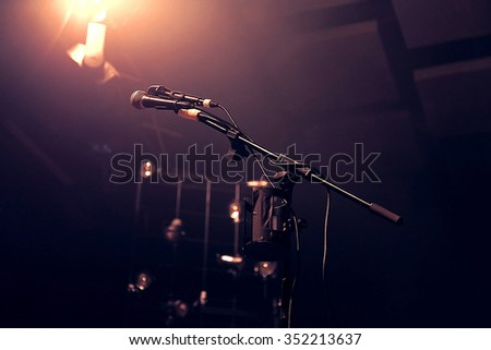 Microphone on prepared concert stage