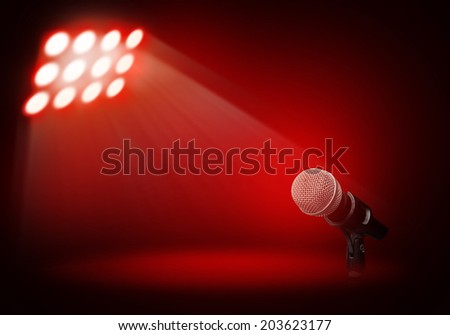 Microphone on red stage