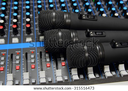Microphone on sound Mixer  close