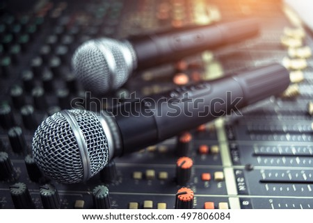 microphone on sound mixer out of focus background