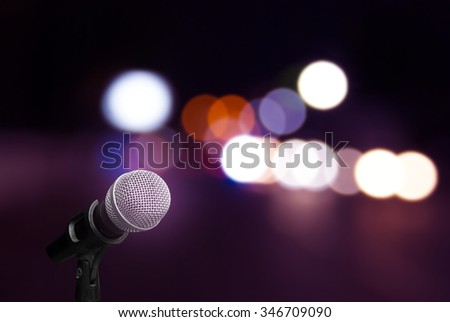 Microphone on stage background