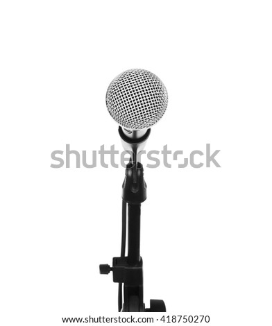 Microphone on stand cutout, isolated on white background - stock photo