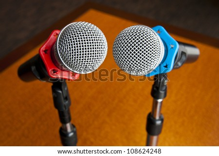 Microphone on stand isolated - stock photo
