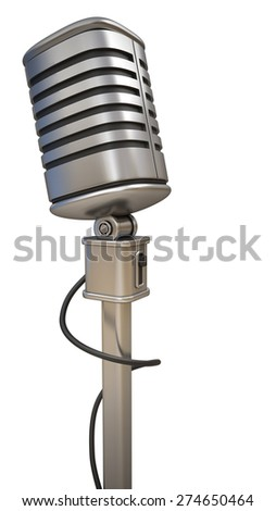 microphone on stand  isolated on white background. High resolution 3d