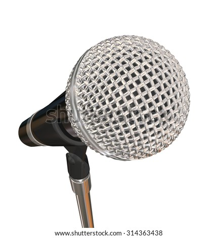 Microphone on Stand Stage Performance Singing Karaoke Stand Up Comedy - stock photo