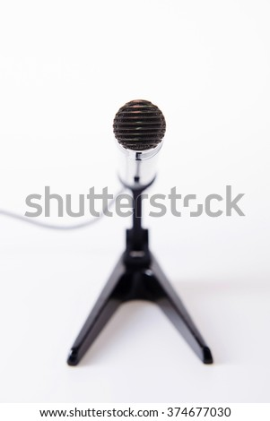 microphone on stand with wire - stock photo