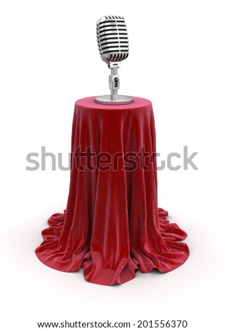 Microphone on Table (clipping path included) - stock photo