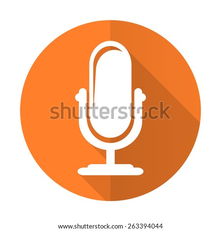 microphone orange flat icon podcast sign  - stock photo
