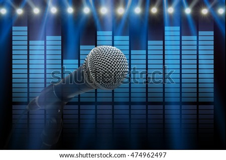 Microphone over the sound waves equalizer background, musical instrument concept