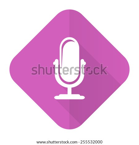 microphone pink flat icon podcast sign  - stock photo