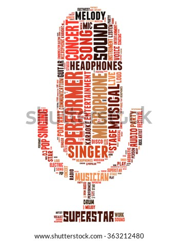Microphone singer, word cloud concept on white background.  - stock photo