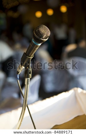 microphone soft lights behind - stock photo