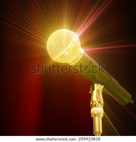 Microphone sparkling in the background 3d rendering. - stock photo