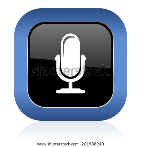 microphone square glossy icon podcast sign  - stock photo