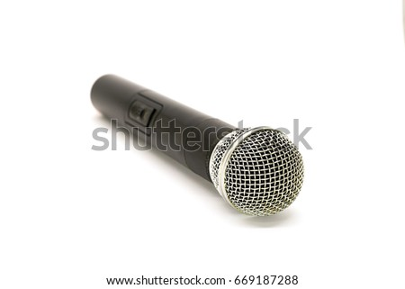 Microphone used on white background