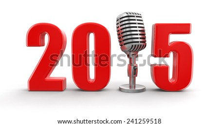 Microphone with 2015 (clipping path included) - stock photo