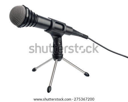 Microphone with cord on a stand