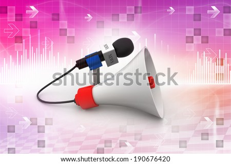 Microphone with loudspeaker - stock photo