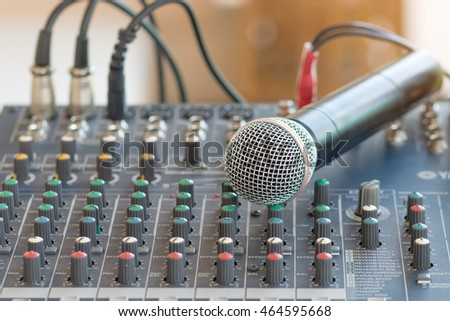 Microphone with sound mixer equipment