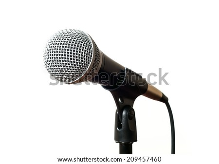 Microphone with stand on white background. selective focus - stock photo