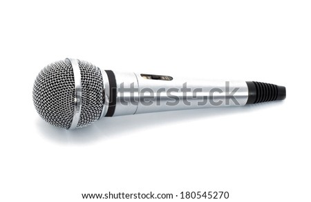 Microphone withe cable isolated on white background - stock photo