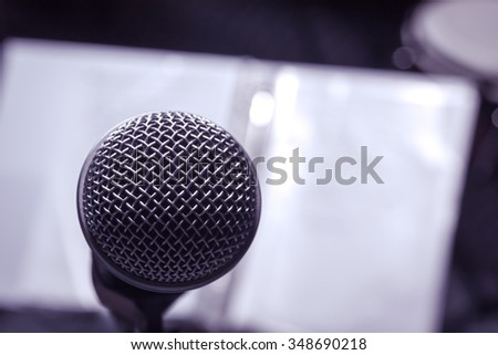 microphones on lyric background.