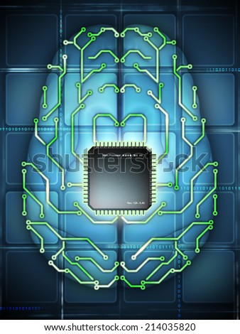 Microprocessor and printed circuit board as elements of an electronic brain. Digital illustration. - stock photo