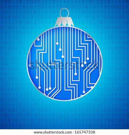 Microprocessor circuitry christmas design.  illustration. - stock photo