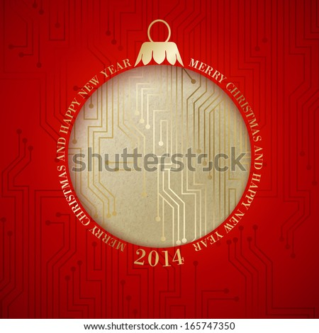 Microprocessor circuitry christmas design.  illustration. - stock photo