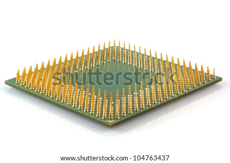 Microprocessor green isolated on a white background.