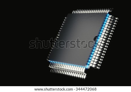 Microprocessor In the background 3d rendering. - stock photo