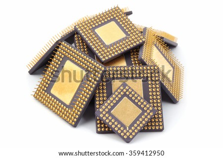 Microprocessors. Isolated on white - stock photo