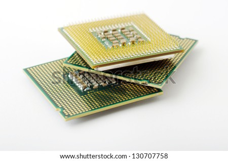 Microprocessors isolated on white background - stock photo