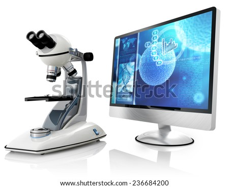 microscope and computer isolated on white background - stock photo