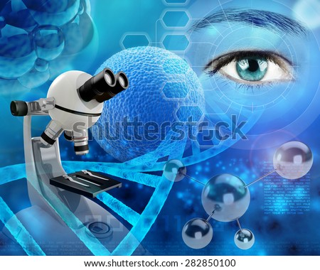 microscope and human eye in a scientific backdrop - stock photo