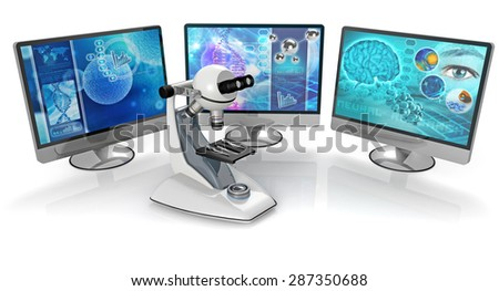 microscope and pc monitors isolated on white background - stock photo