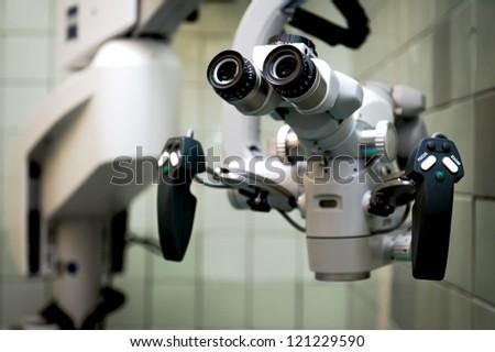 Microscope closeup - stock photo