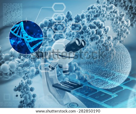 microscope, dna double helix and human cell - stock photo