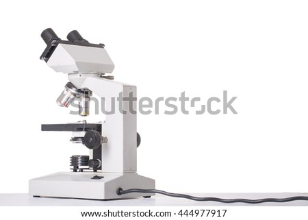 Microscope equipment isolated with white background.