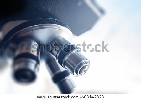 Microscope for laboratory research. Photo of a medical microscope close-up