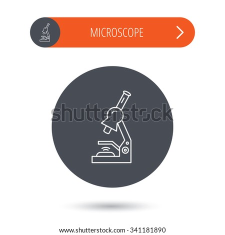 Microscope icon. Medical laboratory equipment sign. Pathology or scientific symbol. Gray flat circle button. Orange button with arrow.  - stock photo
