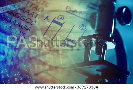 Microscope in laboratory and computer data. Science theme. - stock photo