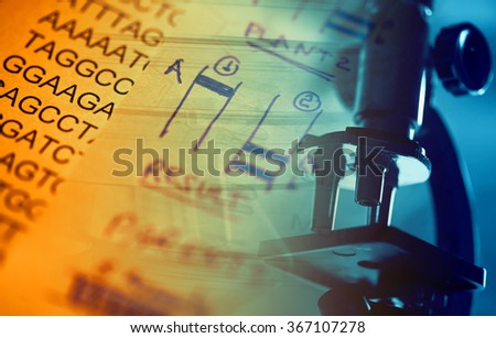 Microscope in laboratory and DNA data. Science theme. - stock photo