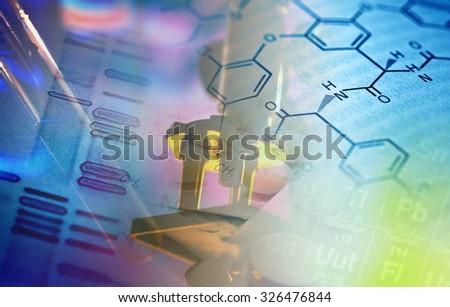 Microscope in laboratory. Science theme. - stock photo