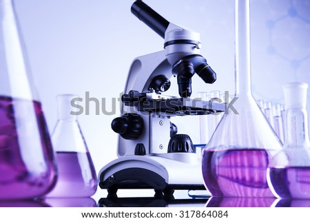 Microscope in medical laboratory, Research and experiment - stock photo