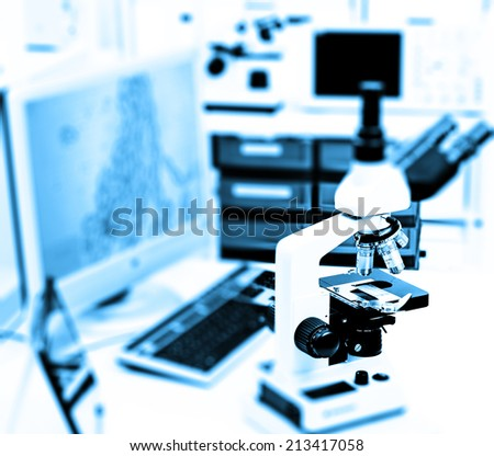 microscope in the laboratory of the hospital - stock photo