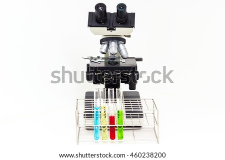 microscope isolated and  tube on laboratory on white background