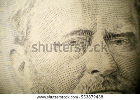 Microscopic view of Grant on a $50.00 bill