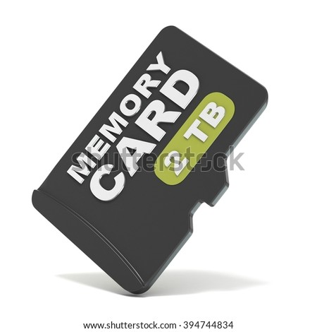 MicroSD memory card, front view 2 TB. 3D render illustration isolated on white background